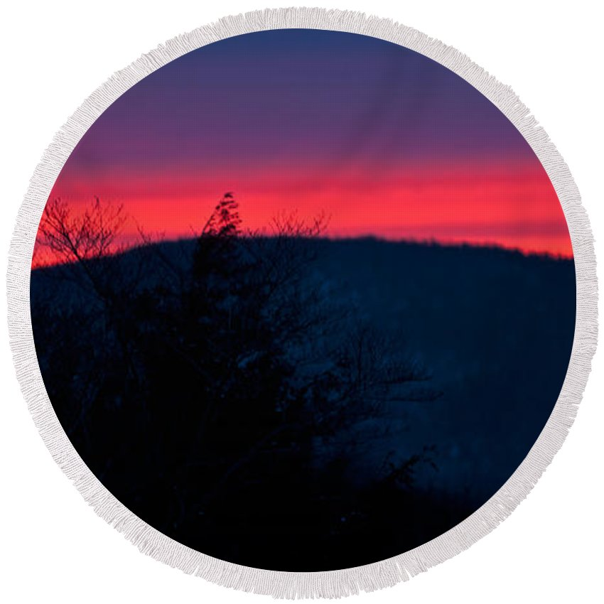 white Mountains Of New Hampshire Round Beach Towel featuring the photograph Winter Dusk by Paul Mangold