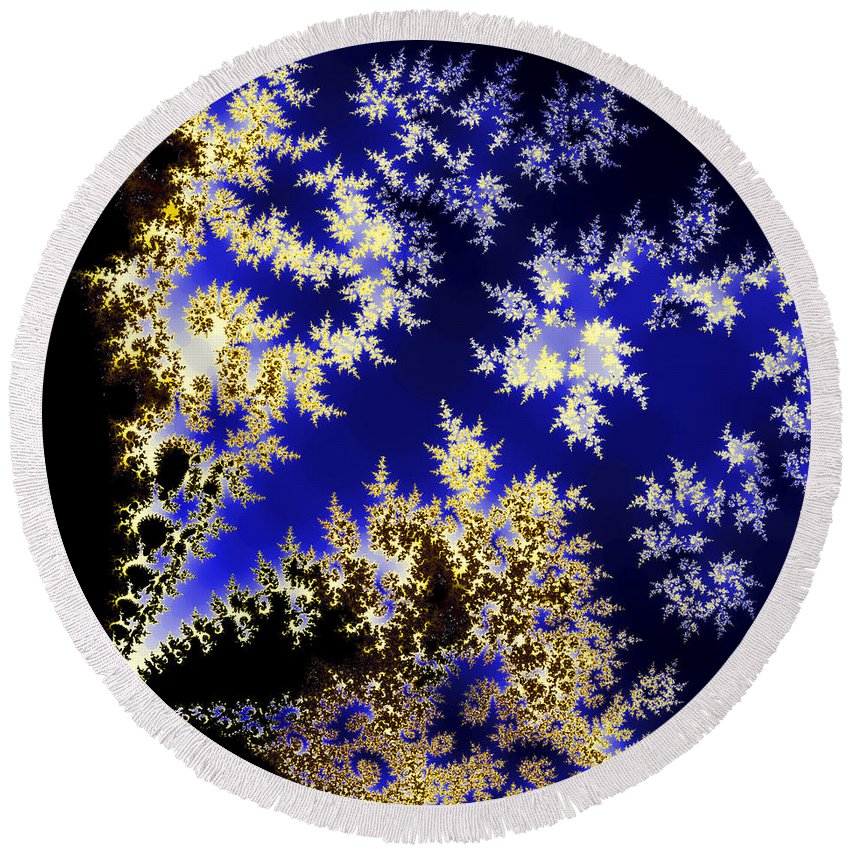 Fractal Round Beach Towel featuring the photograph Winter Evening by Sylvia Thornton