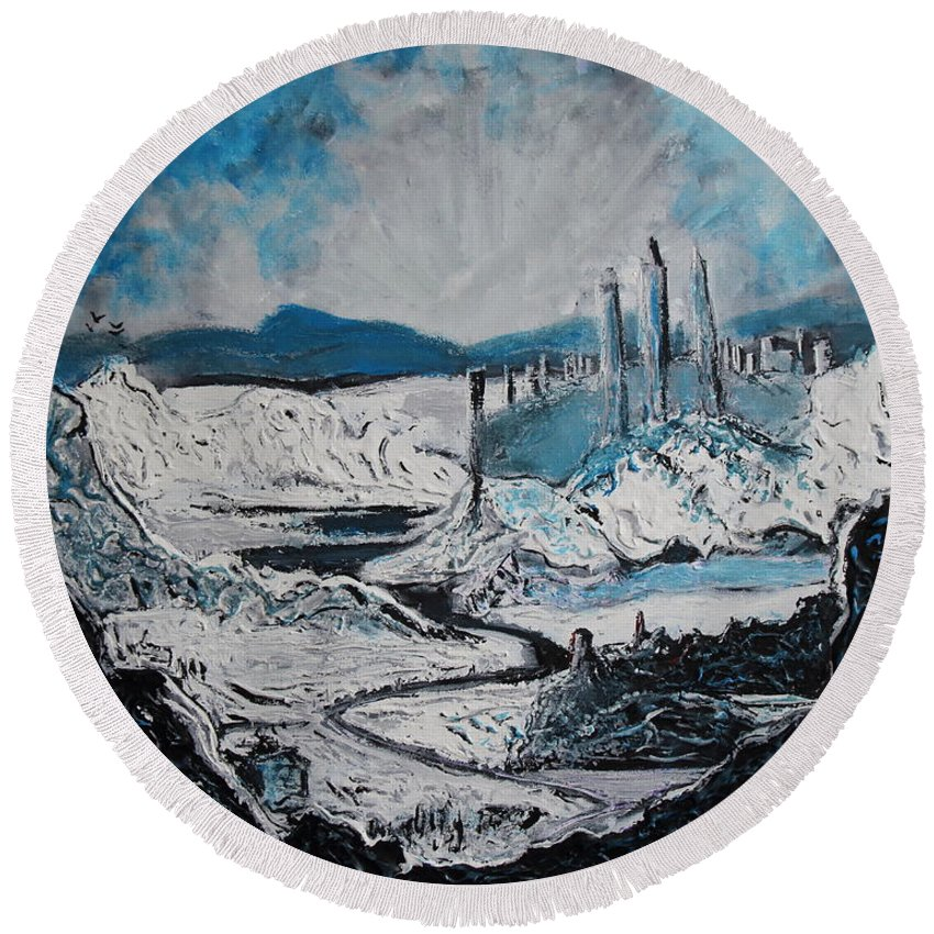 Landscape Round Beach Towel featuring the painting Winter In Ancient Ruins by Stefan Duncan