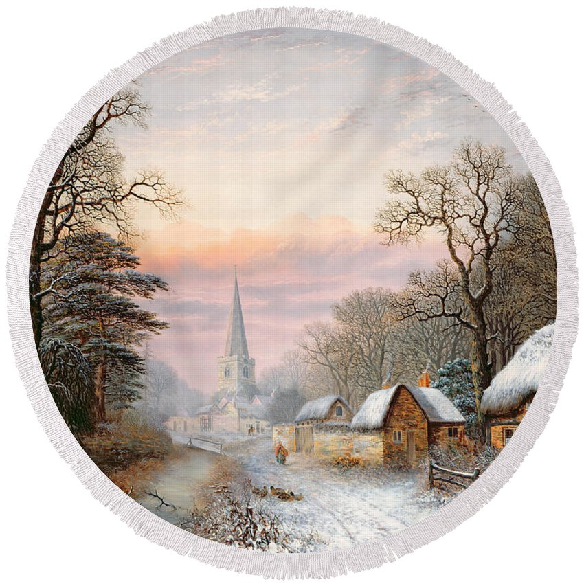 Rural Round Beach Towel featuring the painting Winter Landscape by Charles Leaver