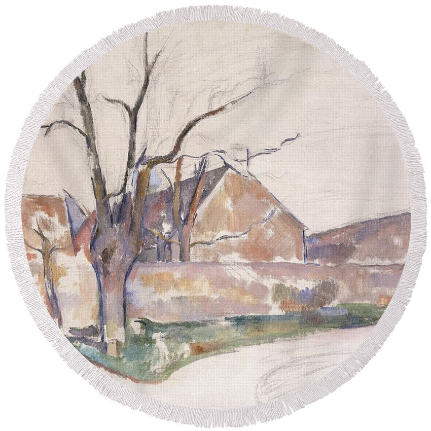 Winter Round Beach Towel featuring the painting Winter Landscape by Paul Cezanne