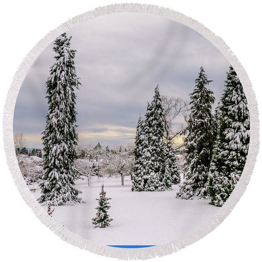 Photo Round Beach Towel featuring the photograph Fabulous Winter. by Viktor Birkus