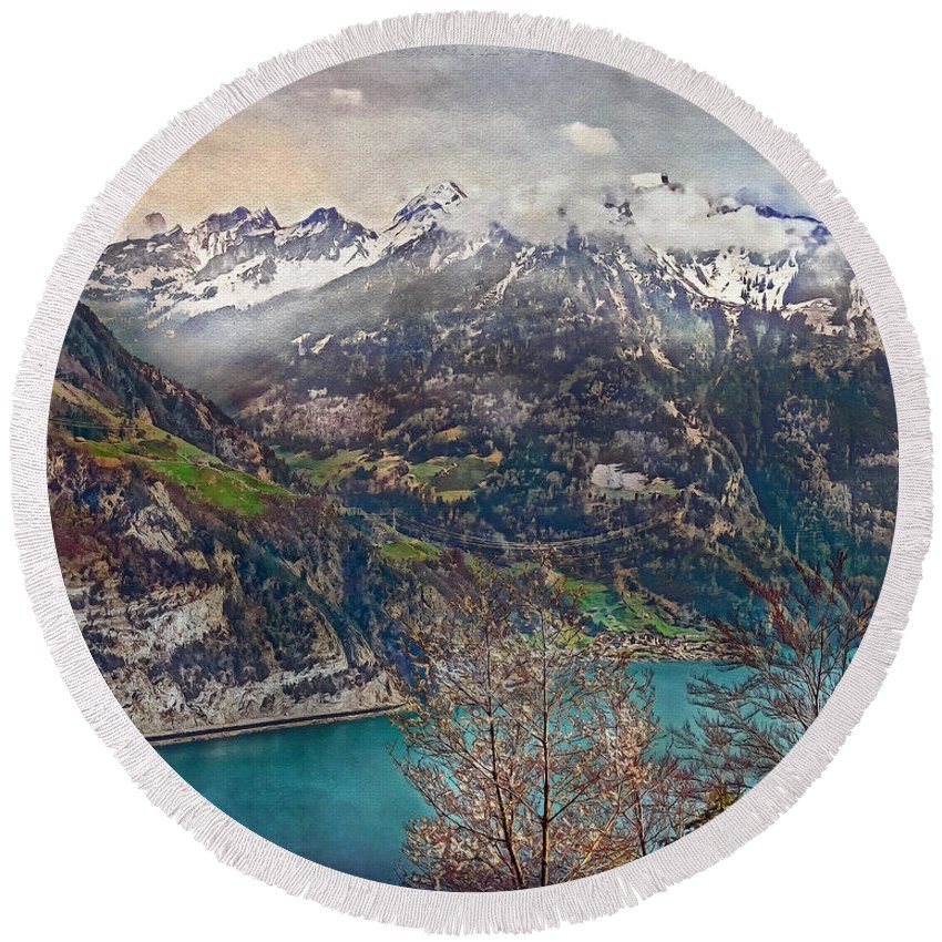Switzerland Round Beach Towel featuring the photograph Winter Meets Spring by Hanny Heim