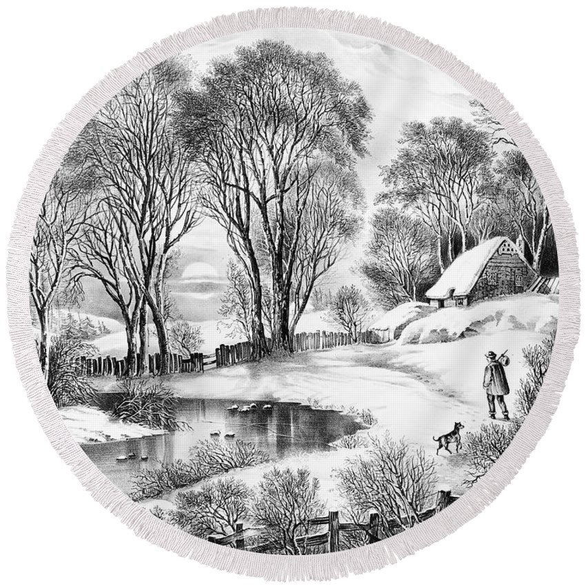 1866 Round Beach Towel featuring the painting Winter Moonlight, 1866 by Granger