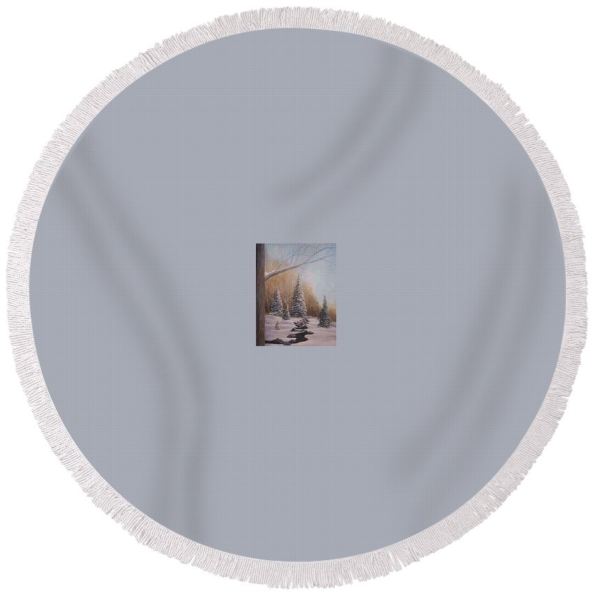 Rick Huotari Round Beach Towel featuring the painting Winter Morning by Rick Huotari