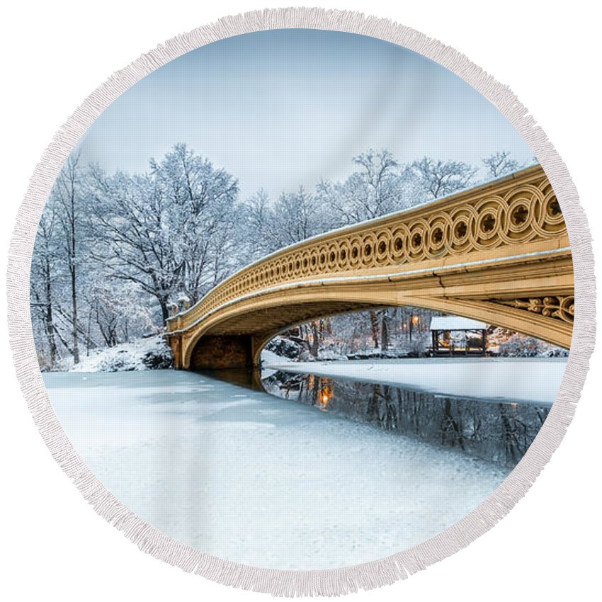 American Round Beach Towel featuring the photograph Winter Morning With Bow Bridge by Mihai Andritoiu