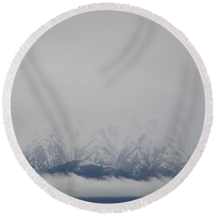 Winter Mountain Round Beach Towel featuring the photograph Winter Mountain by Jennifer Allen