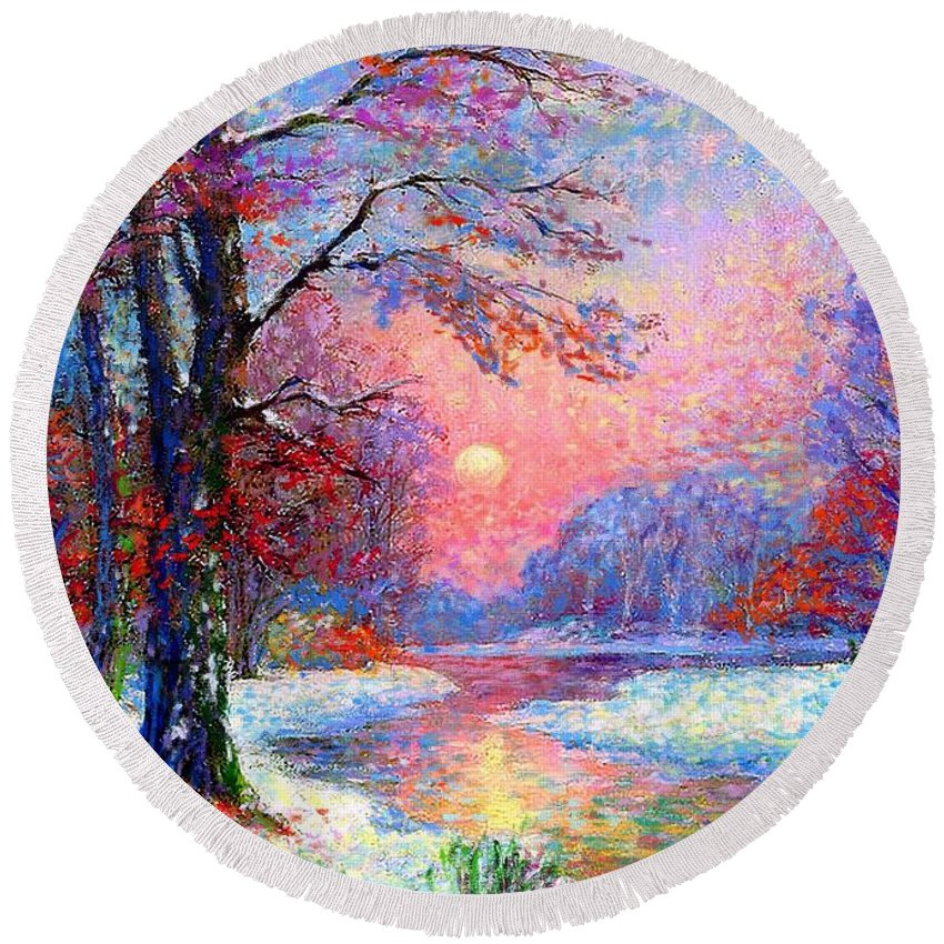 Woodland Round Beach Towel featuring the painting Winter Nightfall, Snow Scene by Jane Small