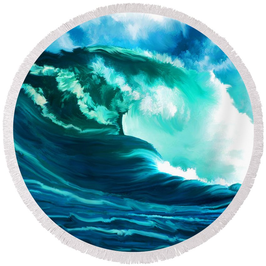 Ocean Round Beach Towel featuring the painting Winter Pacific Surf by Elaine Plesser