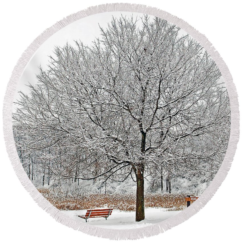 Winter Round Beach Towel featuring the photograph Winter Park by Aimee L Maher ALM GALLERY