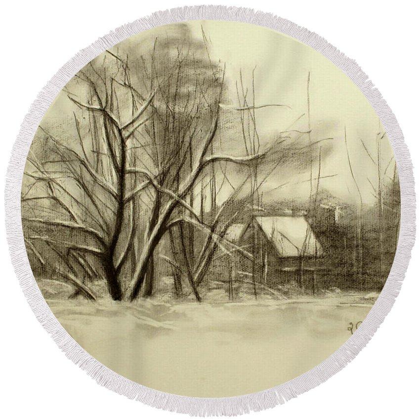 Landscape Round Beach Towel featuring the drawing Winter by Raimonda Jatkeviciute-Kasparaviciene