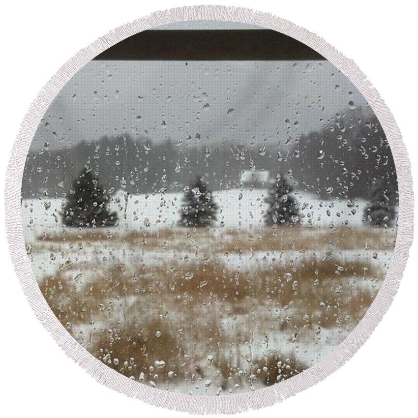 Rain Round Beach Towel featuring the photograph Winter Rain by Lisa Wormell