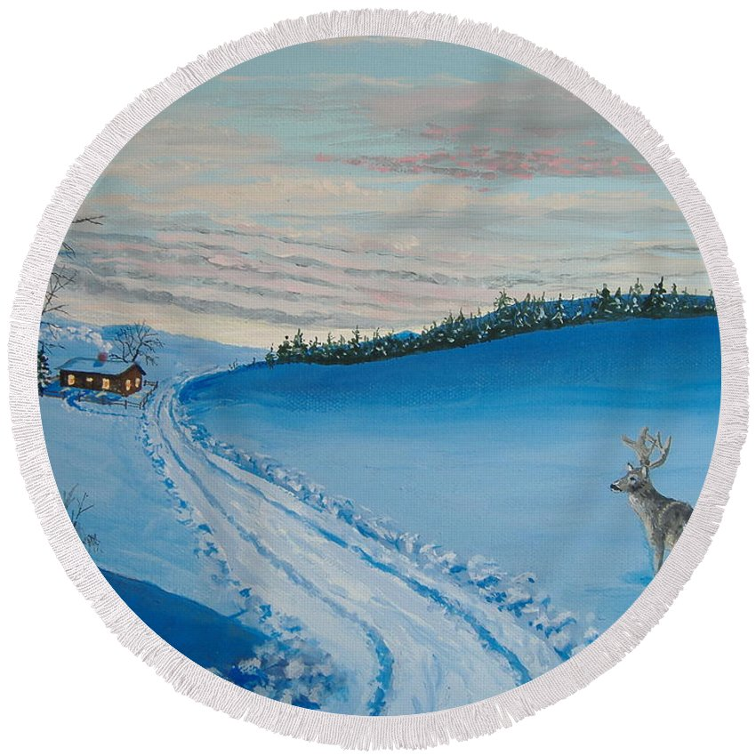 Winter Round Beach Towel featuring the painting Winter Sentinel by Norm Starks