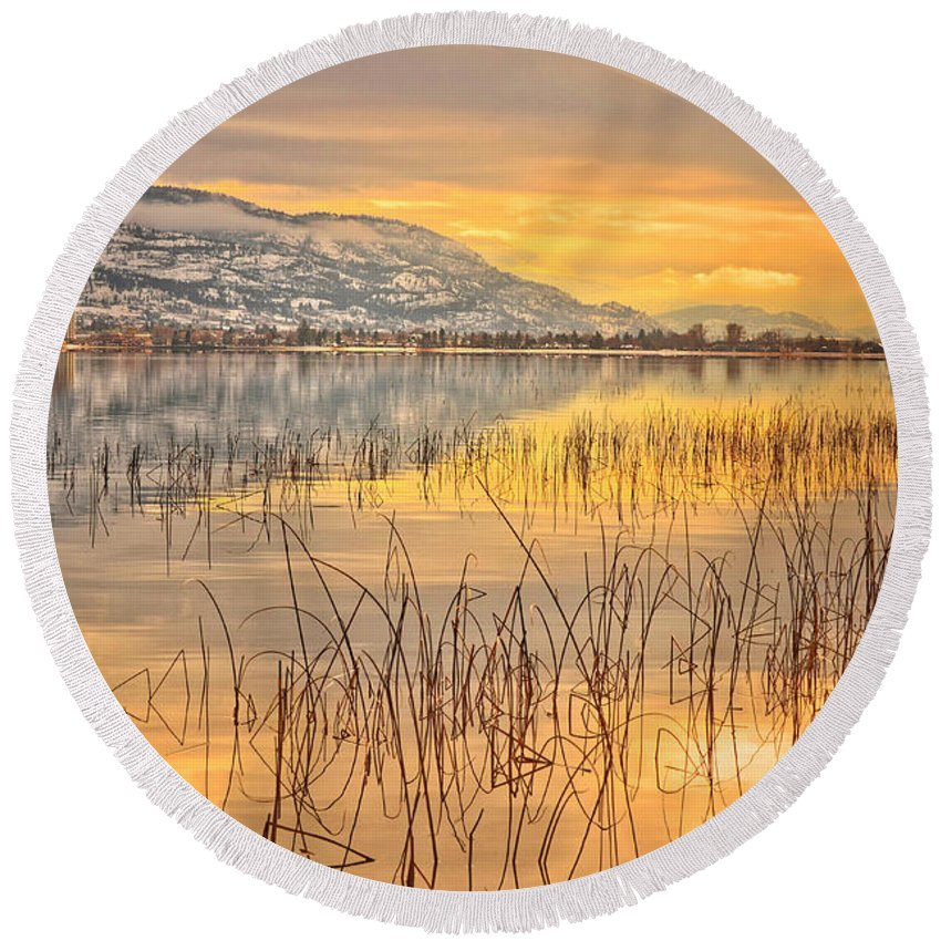 Okanagan Round Beach Towel featuring the photograph Winter Solstice 5 by Tara Turner