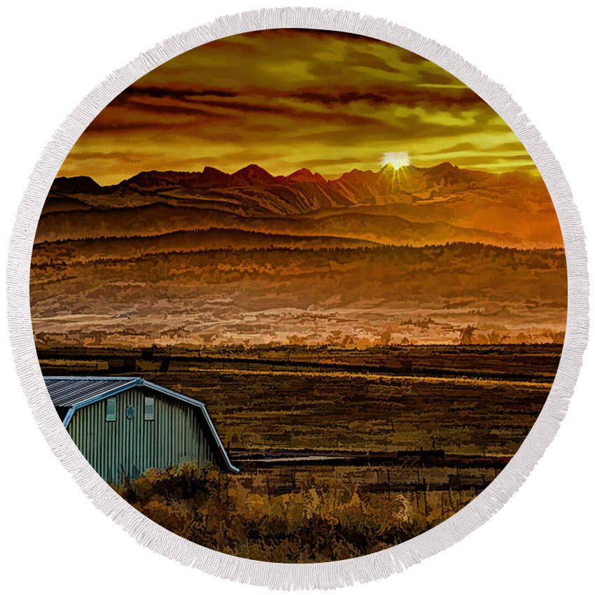 Solstice Round Beach Towel featuring the photograph Winter Solstice by Jon Burch Photography