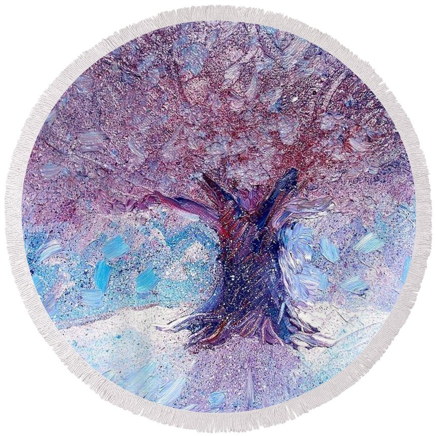 Winter Round Beach Towel featuring the painting Winter Solstice by Shana Rowe Jackson
