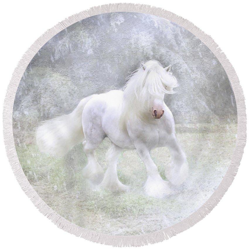 Horses Round Beach Towel featuring the photograph Winter Spirit by Fran J Scott