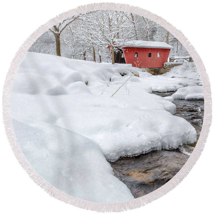 Covered Bridge Round Beach Towel featuring the photograph Winter Stream by Bill Wakeley