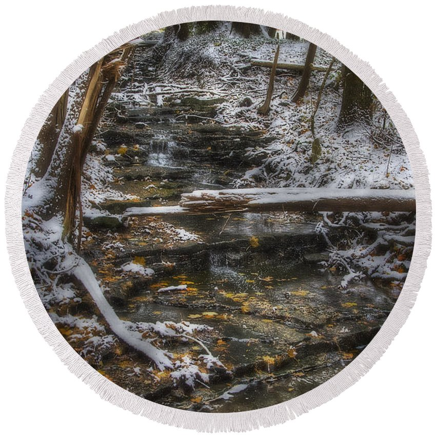 Landscape Round Beach Towel featuring the photograph Winter Stream by J McGill