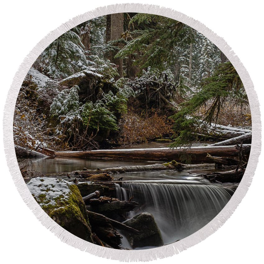 Stream Round Beach Towel featuring the photograph Winter Stream by Mike Reid