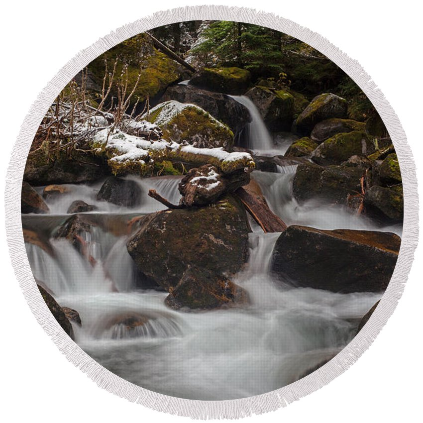 Stream Round Beach Towel featuring the photograph Winter Stream Tranquility by Mike Reid