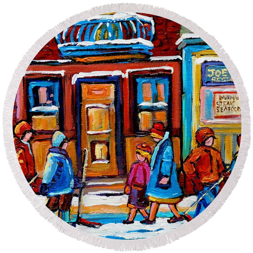 Montreal Round Beach Towel featuring the painting Winter Street In Saint Henri by Carole Spandau