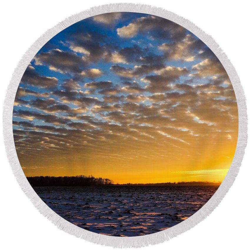 Sunset Round Beach Towel featuring the photograph Winter Sunset 1 by Dan McCafferty