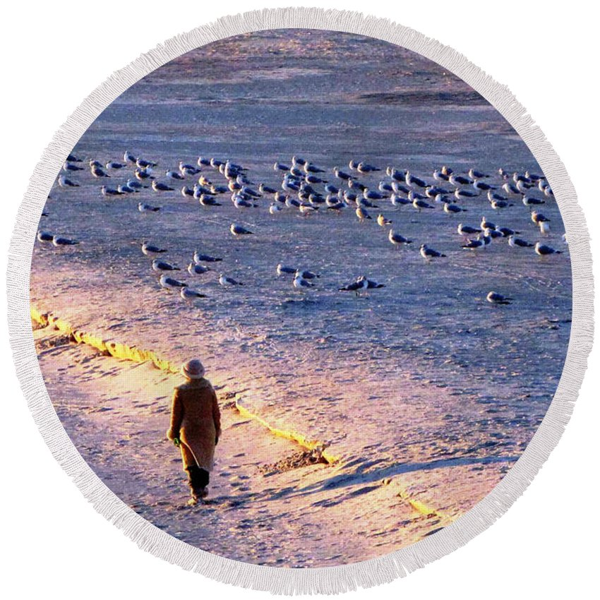 Winter Round Beach Towel featuring the photograph Winter Time At The Beach by Cynthia Guinn