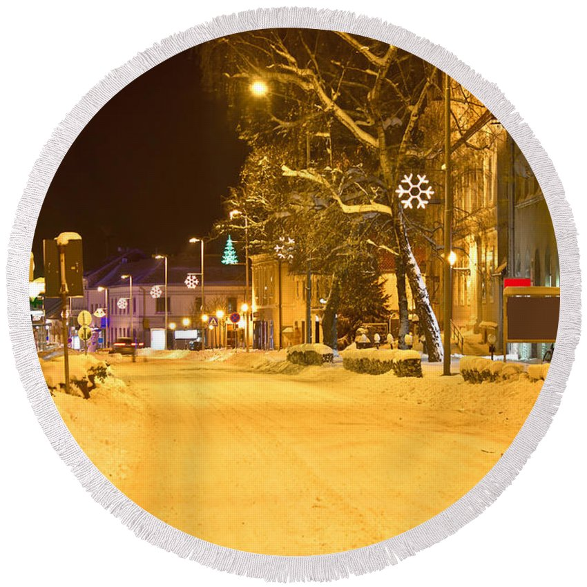 Christmas Round Beach Towel featuring the photograph Winter Time Street Scene In Krizevci by Brch Photography