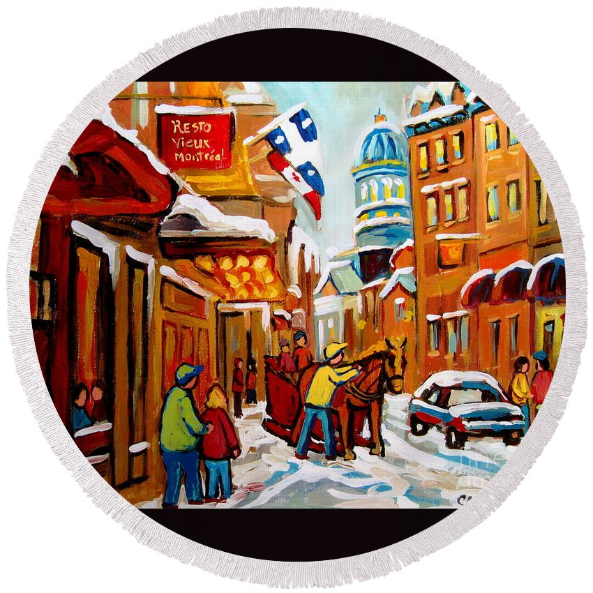 Montreal Round Beach Towel featuring the painting Winter Walk Montreal by Carole Spandau