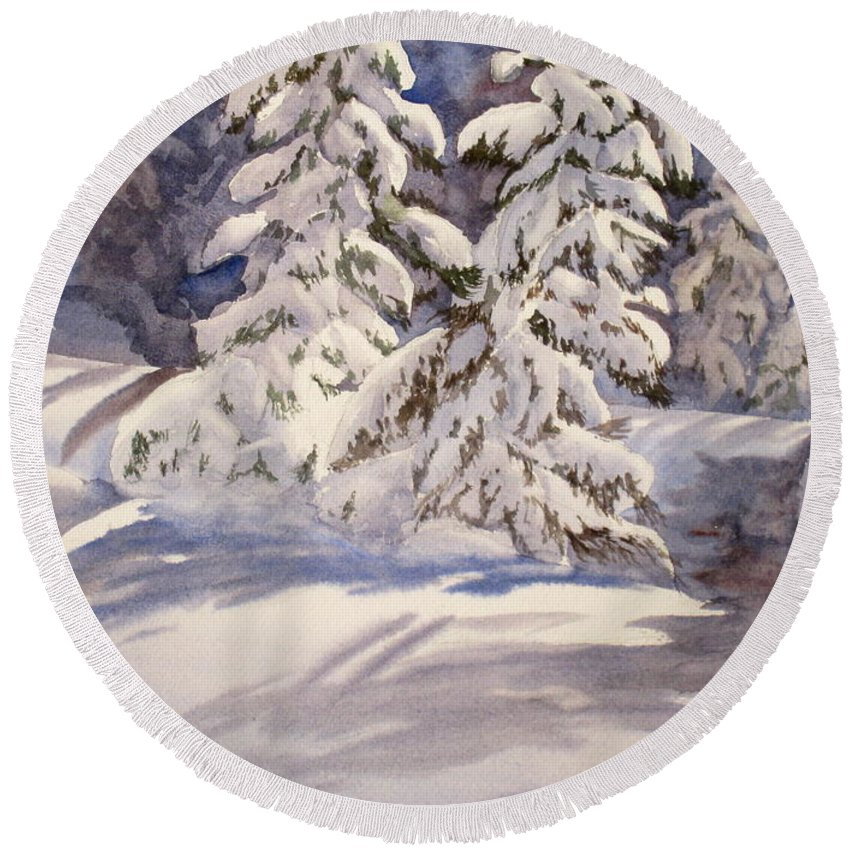 Winter Round Beach Towel featuring the painting Winter Wonder by Mohamed Hirji