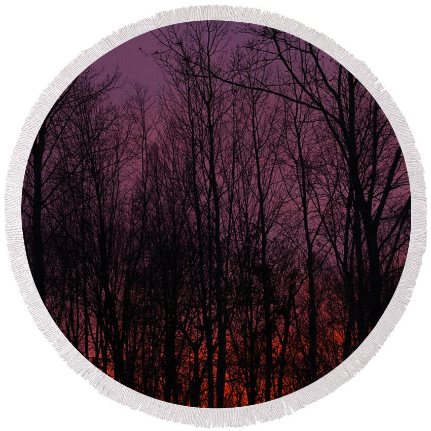 Sunset Round Beach Towel featuring the photograph Winter Woods Sunset by Karol Livote