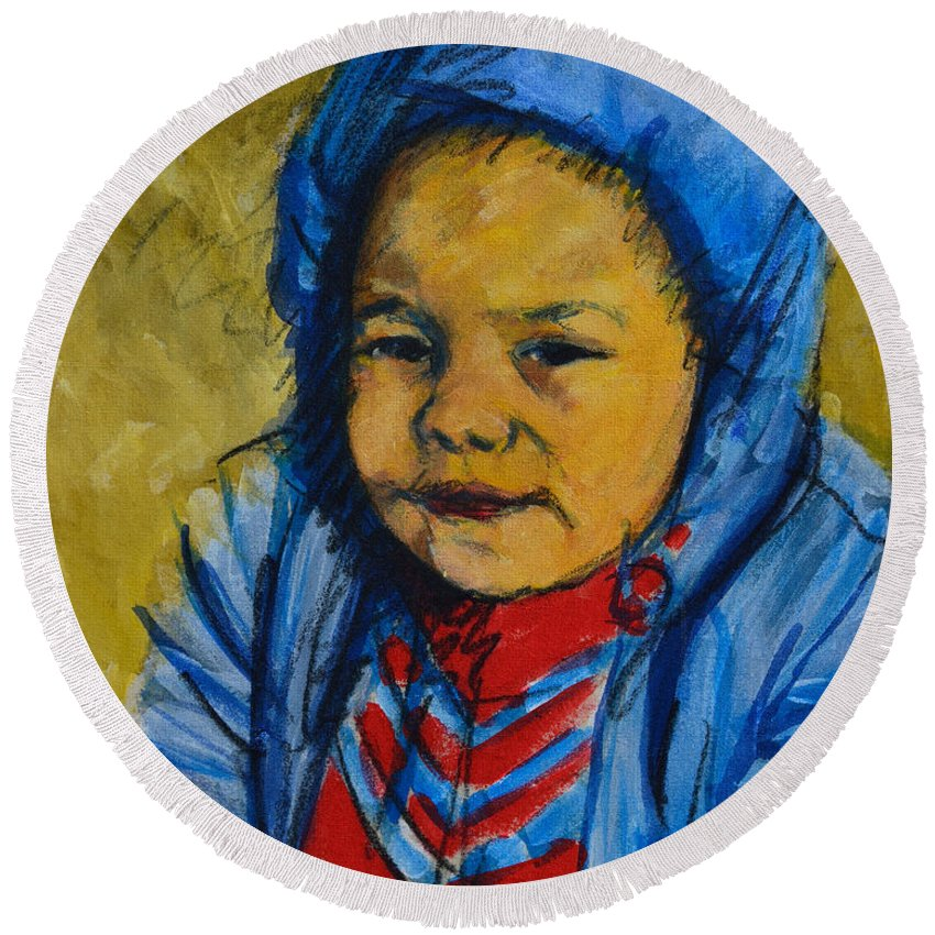 Child Round Beach Towel featuring the painting Winter's Child by Charles M Williams