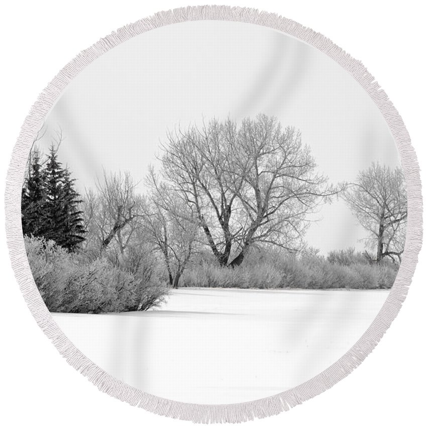 Fog Round Beach Towel featuring the photograph Winter's Cloak by Dee Cresswell