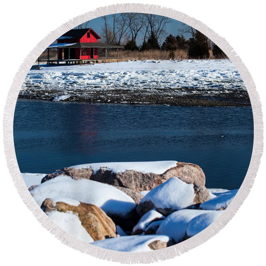 Winters Cove Round Beach Towel featuring the photograph Winters Cove by Karol Livote