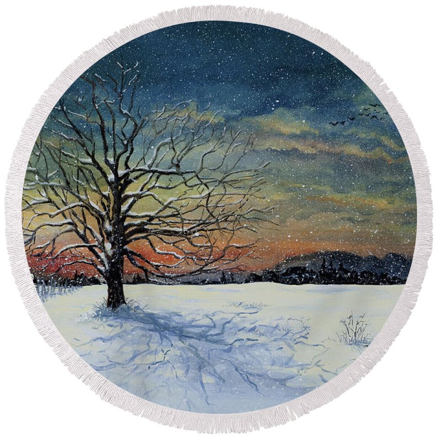 Oak Tree Round Beach Towel featuring the painting Winters Eve by Mary Palmer