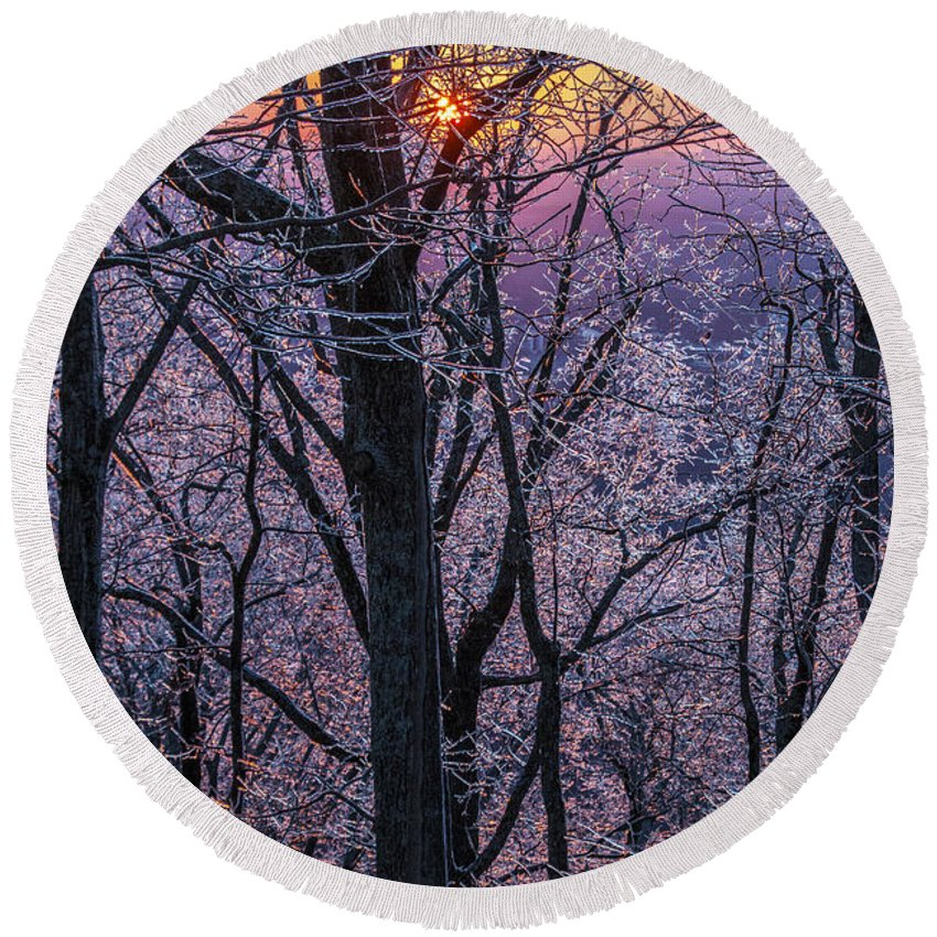 Winter Round Beach Towel featuring the photograph Winter's Light by Michael Sims