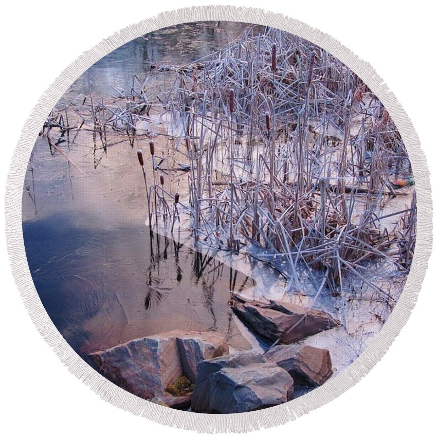 Landscape Round Beach Towel featuring the photograph Winters Magic by John Malone