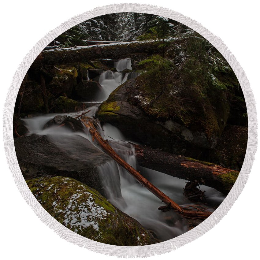 Stream Round Beach Towel featuring the photograph Winters Stream Flow by Mike Reid