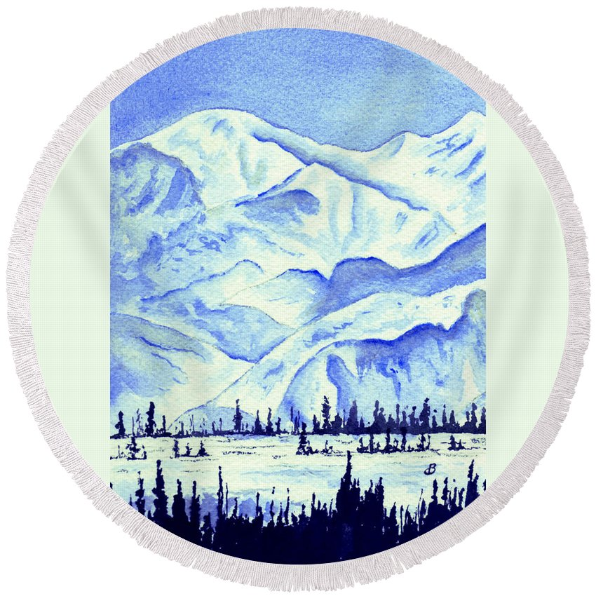 Landscape Round Beach Towel featuring the painting Winter's White Blanket by Brenda Owen