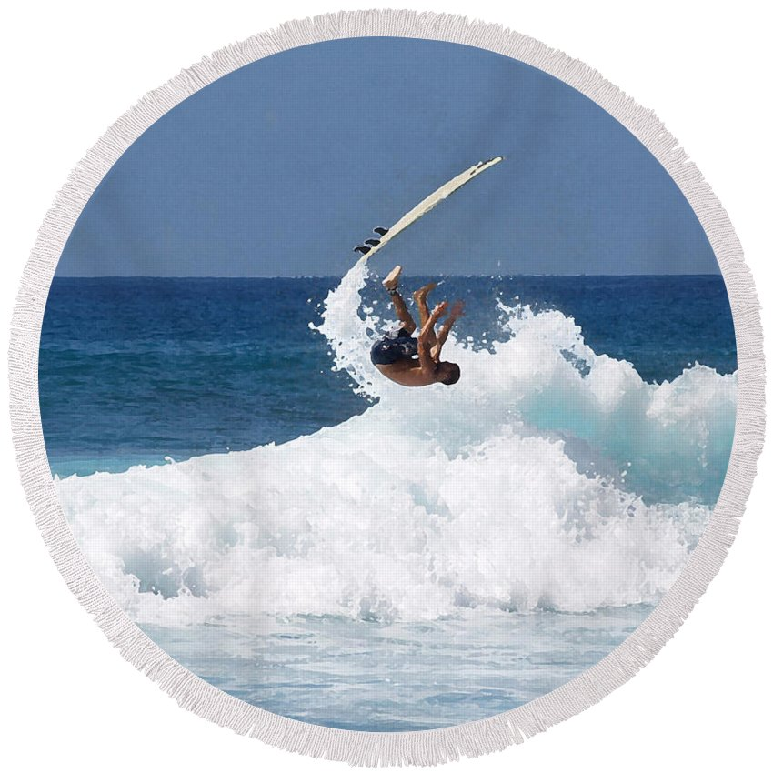 Surfing Round Beach Towel featuring the photograph Wipe Out by Athala Carole Bruckner