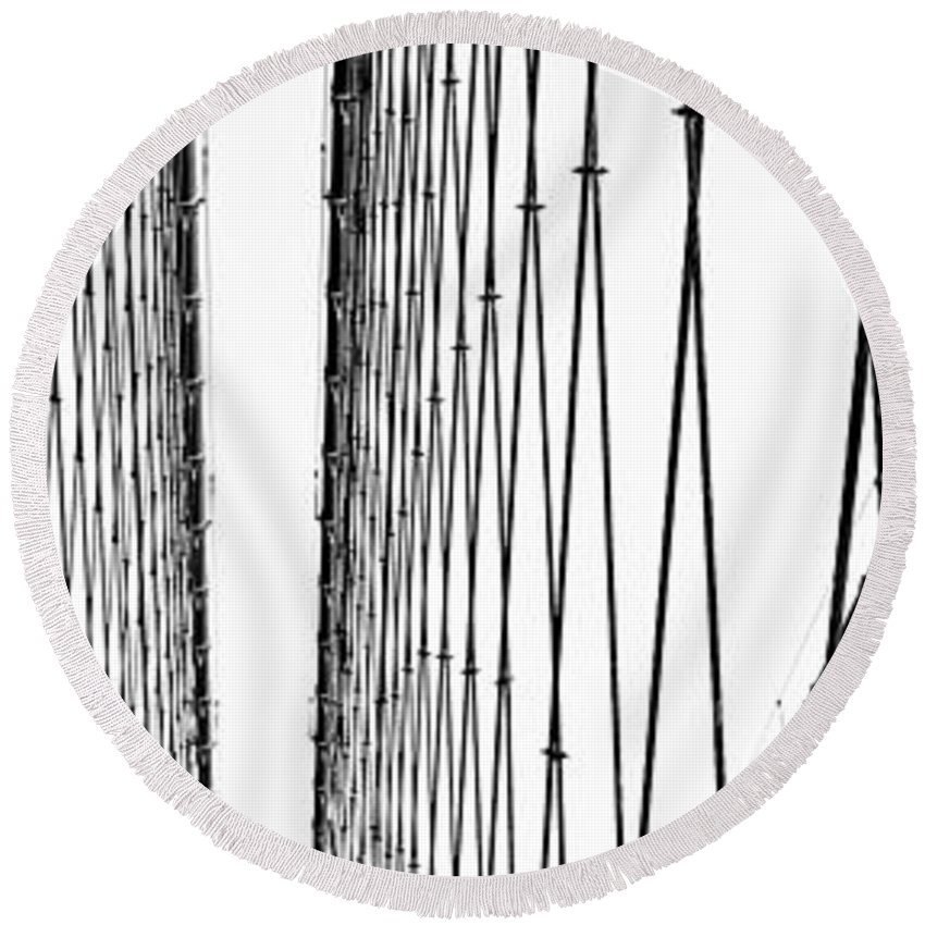America Round Beach Towel featuring the photograph Wires Abstract by Svetlana Sewell