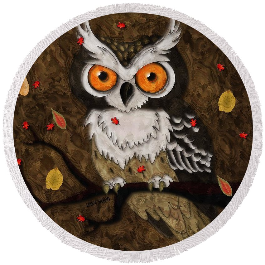 Wise Owl Round Beach Towel featuring the digital art Wise Owl by Liane Wright
