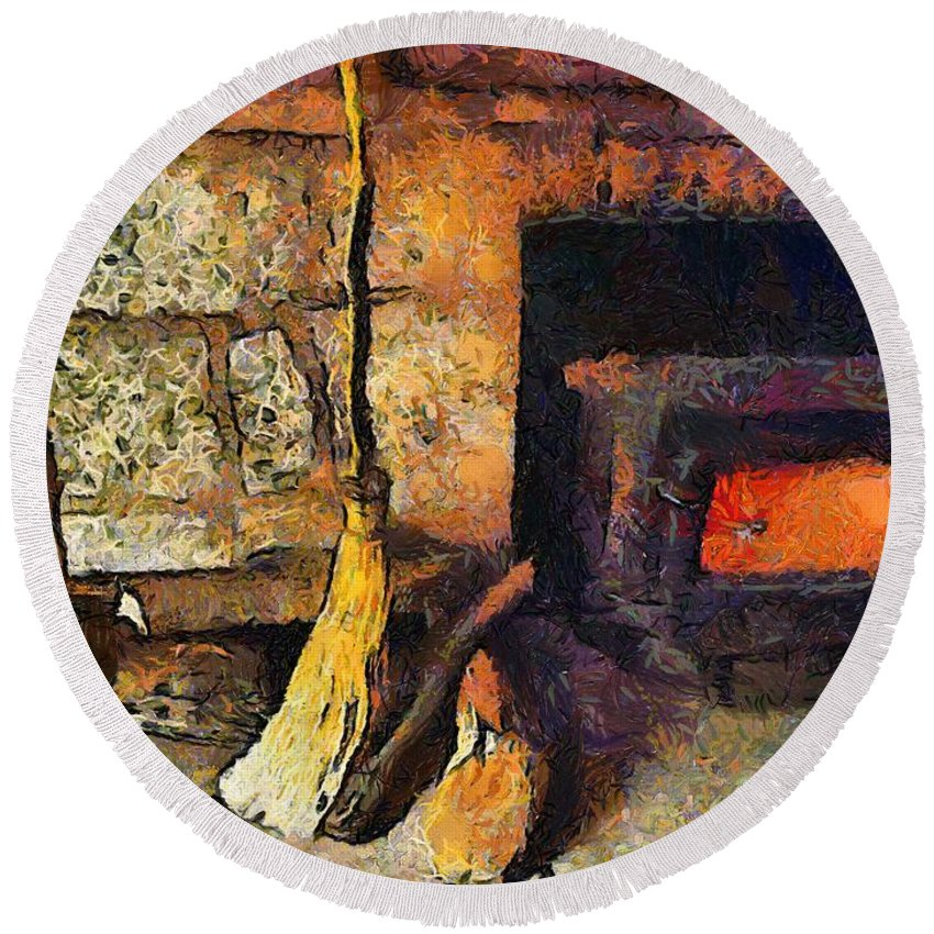 Connecticut Round Beach Towel featuring the painting Wisewoman's Hearth by RC DeWinter