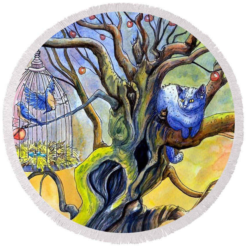 Cat Tree Bird Cage Bluebirds Apple Tree Watercolor Round Beach Towel featuring the painting Wishfull Thinking by Margaret Schons