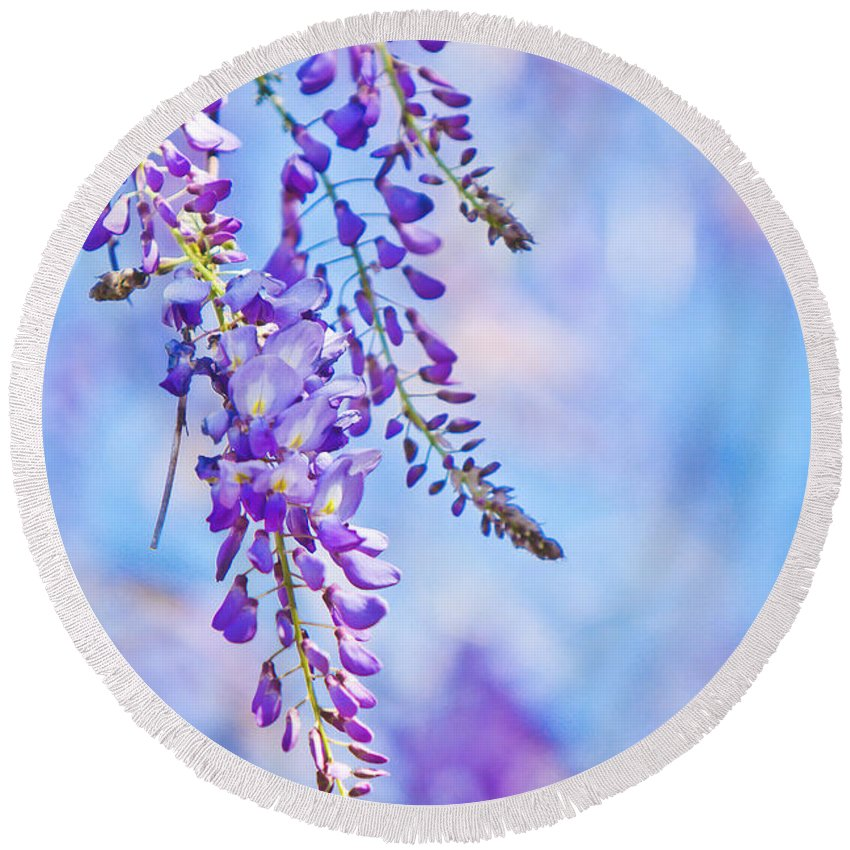 Flower Round Beach Towel featuring the photograph Wisteria by Joan McCool