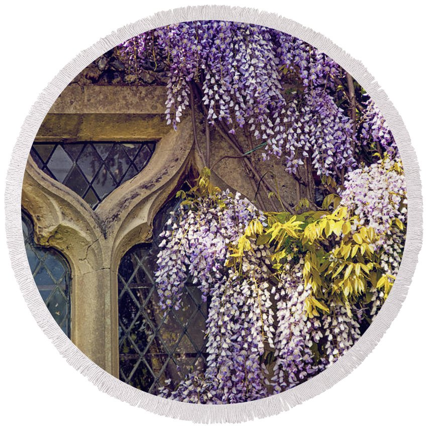 Anniversary Round Beach Towel featuring the photograph Wisteria by Svetlana Sewell