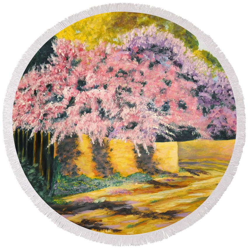 Wisteria Tree Round Beach Towel featuring the painting Wisterias Santa Fe New Mexico by Barney Napolske