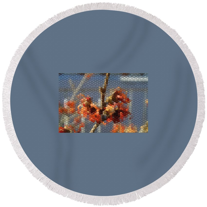 Mosaic Round Beach Towel featuring the photograph Witch Hazel Diane by Kathryn Meyer