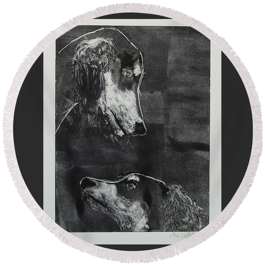 Saluki Round Beach Towel featuring the mixed media With Love by Cori Solomon